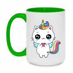 Кружка двоколірна 420ml The cat is unicorn