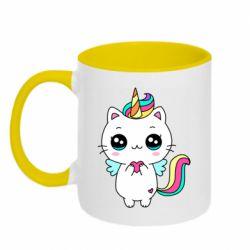 Кружка двоколірна 320ml The cat is unicorn