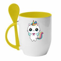 Кружка з керамічною ложкою The cat is unicorn