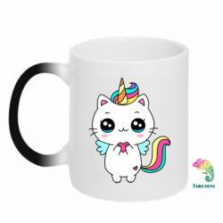 Кружка-хамелеон The cat is unicorn