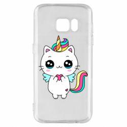 Чохол для Samsung S7 The cat is unicorn