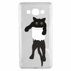Чехол для Samsung A5 2015 The cat tore the pocket