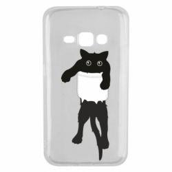 Чехол для Samsung J1 2016 The cat tore the pocket