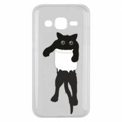 Чехол для Samsung J2 2015 The cat tore the pocket