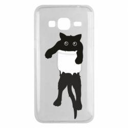 Чехол для Samsung J3 2016 The cat tore the pocket