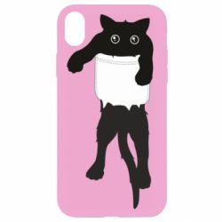 Чехол для iPhone XR The cat tore the pocket