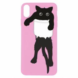 Чехол для iPhone Xs Max The cat tore the pocket