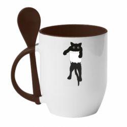 Кружка с керамической ложкой The cat tore the pocket