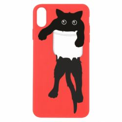 Чехол для iPhone X/Xs The cat tore the pocket