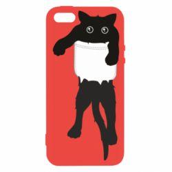 Чехол для iPhone5/5S/SE The cat tore the pocket