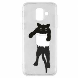 Чехол для Samsung A6 2018 The cat tore the pocket