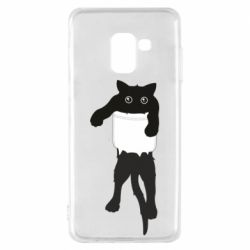 Чехол для Samsung A8 2018 The cat tore the pocket