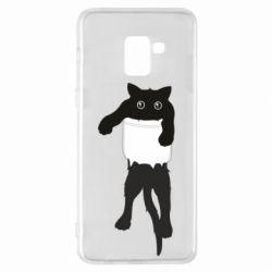 Чехол для Samsung A8+ 2018 The cat tore the pocket