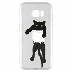 Чехол для Samsung S7 EDGE The cat tore the pocket
