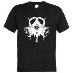 Мужская футболка  с V-образным вырезом The Chemodan Clan противогаз - FatLine