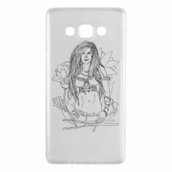 Чехол для Samsung A7 2015 The contour of the girl in flowers