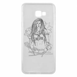 Чехол для Samsung J4 Plus 2018 The contour of the girl in flowers