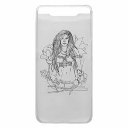 Чехол для Samsung A80 The contour of the girl in flowers