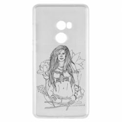Чехол для Xiaomi Mi Mix 2 The contour of the girl in flowers