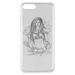 Чехол для Xiaomi Mi Note 3 The contour of the girl in flowers
