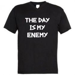 Мужская футболка  с V-образным вырезом The day is my enemy