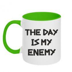 Кружка двухцветная 320ml The day is my enemy