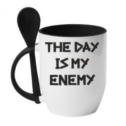 Кружка с керамической ложкой The day is my enemy