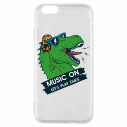 Чехол для iPhone 6/6S The dinosaur yells! music on  let's play dude
