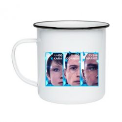 Кружка емальована The faces of androids game Detroit: Become human