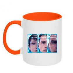 Кружка двоколірна 320ml The faces of androids game Detroit: Become human