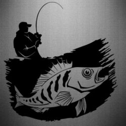 Наклейка The fisherman caught a fish