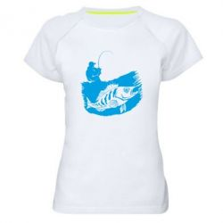 Женская спортивная футболка The fisherman caught a fish