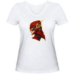 Женская футболка с V-образным вырезом The Flash