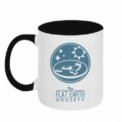 Кружка двоколірна 320ml The flat earth society