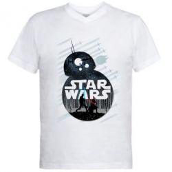 Мужская футболка  с V-образным вырезом The Force - FatLine