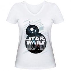 Женская футболка с V-образным вырезом The Force - FatLine