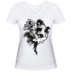 Купить Женская футболка с V-образным вырезом The ghost outside the machine, FatLine