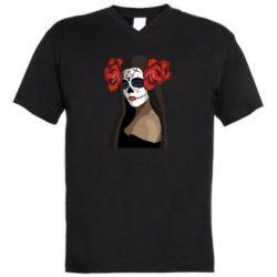 Мужская футболка  с V-образным вырезом The girl in the image of the day of the dead