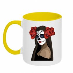 Кружка двоколірна 320ml The girl in the image of the day of the dead