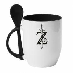 Кружка с керамической ложкой The Legend of Zelda Logo
