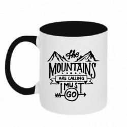 Кружка двоколірна 320ml The mountains are calling must go