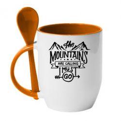 Кружка з керамічною ложкою The mountains are calling must go