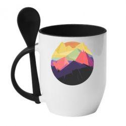 Кружка с керамической ложкой The mountains Art