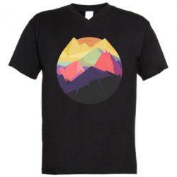 Мужская футболка  с V-образным вырезом The mountains Art