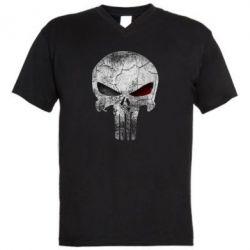 Мужская футболка  с V-образным вырезом The Punisher Logo - FatLine