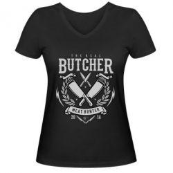 Жіноча футболка з V-подібним вирізом The Real Butcher