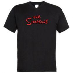 Чоловіча футболка з V-подібним вирізом The Simpson Logo