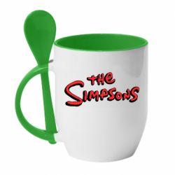 Кружка з керамічною ложкою The Simpson Logo