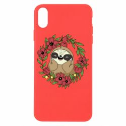 Чехол для iPhone X/Xs The slothful in flowers