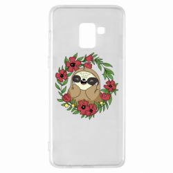 Чехол для Samsung A8+ 2018 The slothful in flowers